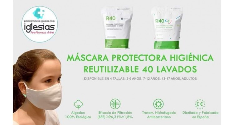 Mascarillas Reutilizables R40 hasta 40 lavados para Adultos y para Niños.